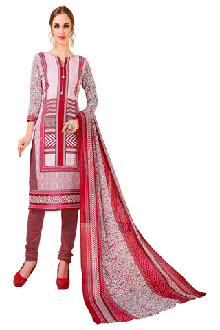 Red Color Cotton Stitched Salwar - Redbeauty17-17014