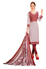 Red Color Cotton Stitched Salwar - Redbeauty17-17011