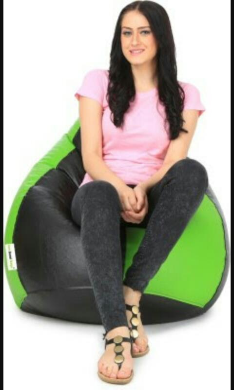 Green and Black Color Bean Bag Cover With Out Bean