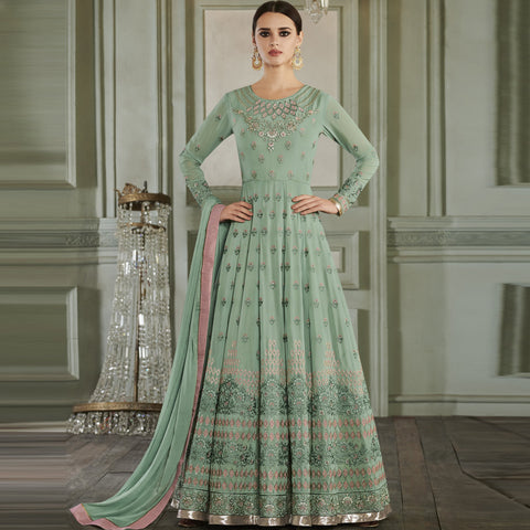 Sea Green Color ButterFly Mono Net Semi Stitched Salwar - Rihanna3-27012