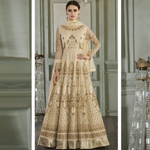 OffWhite Color ButterFly Mono Net Semi Stitched Salwar - Rihanna3-27014
