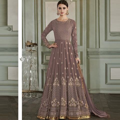 Light Brown Color ButterFly Mono Net Semi Stitched Salwar - Rihanna3-27015