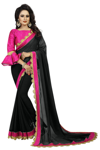 Black and Pink Color Georgette Saree - Ronney1011BlackPink