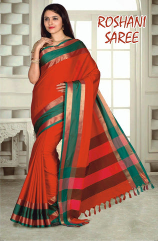 Red and Green Color Cotton Masaraised Saree - Roshani-001