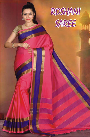 Pink and Rblue Color Cotton Masaraised Saree - Roshani-002