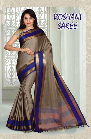 Beige and Rblue Color Cotton Masaraised Saree - Roshani-004
