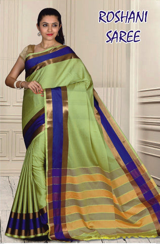 Green and Blue Color Cotton Masaraised Saree - Roshani-005