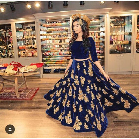 Blue Color Taffeta Silk Stitched Lehenga - Royal-ArtBlue-Lehenga
