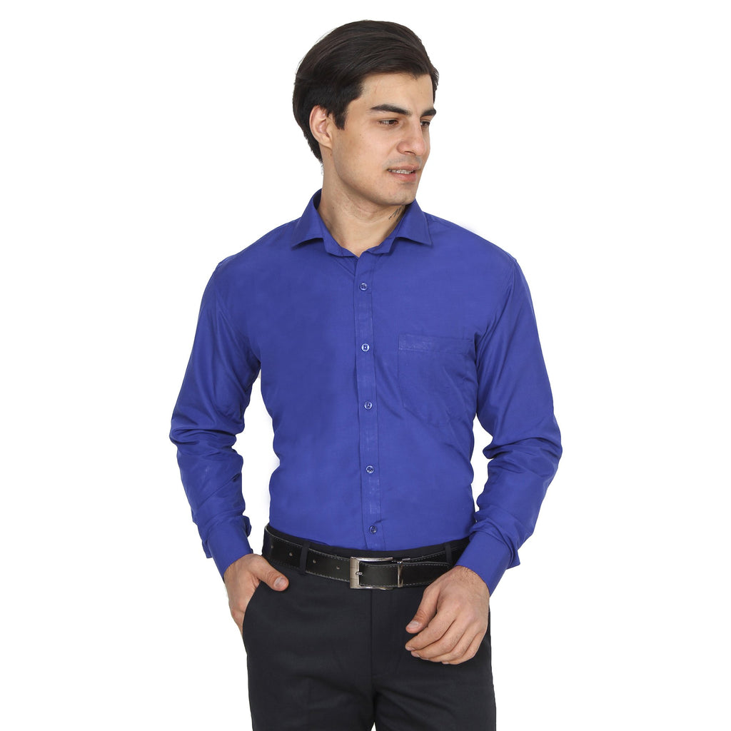 Buy Royal Blue Color Cotton Blend Slim Fit Shirts
