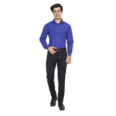 Royal Blue Color Cotton Blend Slim Fit Shirts - Royal-Blue