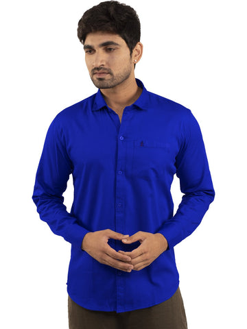 Royal Blue Color Plain Casual Shirt - RB-1ABF