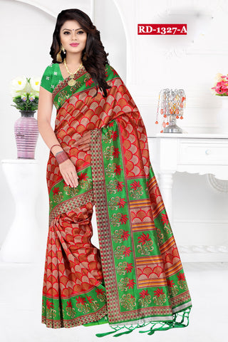 Red And Green Color Bhagalpuri Silk Saree - Rudra-1327-A