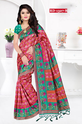 Pink And Sea Blue Color Bhagalpuri Silk Saree - Rudra-1327-B