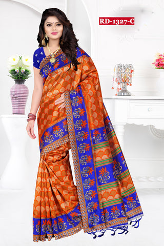 Orange And Blue Color Bhagalpuri Silk Saree - Rudra-1327-C