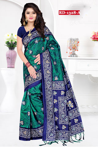 Sea Green Color Bhagalpuri Silk Saree - Rudra-1328-A