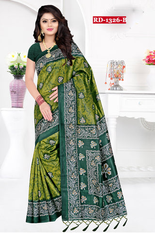 Green Color Bhagalpuri Silk Saree - Rudra-1328-B