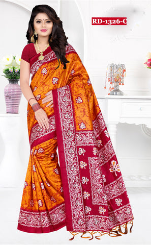 Yellow Color Bhagalpuri Silk Saree - Rudra-1328-C