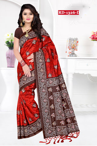 Red Color Bhagalpuri Silk Saree - Rudra-1328-D