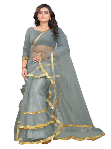 Grey Color Net With Inner Sartin Saree - Ruffle-Net-Grey
