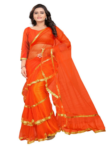 Orange Color Net With Inner Sartin Saree - Ruffle-Net-Orange