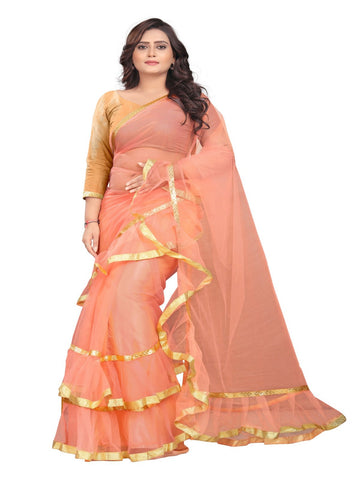 Peach Color Net With Inner Sartin Saree - Ruffle-Net-Peach