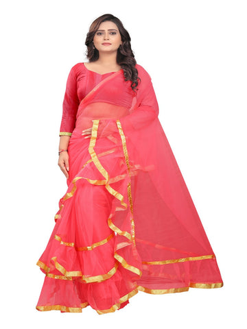 Pink Color Net With Inner Sartin Saree - Ruffle-Net-Pink