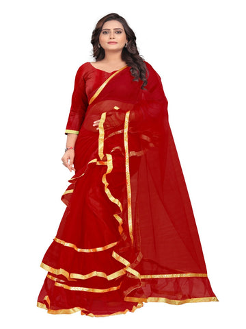 Red Color Net With Inner Sartin Saree - Ruffle-Net-Red
