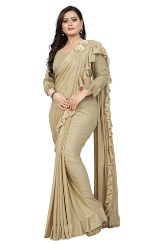 Beige Color Imported Lycra Fabric Saree - Ruffle-Pallu-Buta-Beige