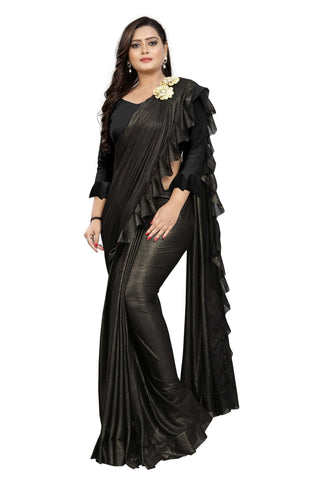 Black Color Imported Lycra Fabric Saree - Ruffle-Pallu-Buta-Black