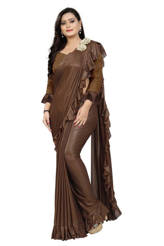Brown Color Imported Lycra Fabric Saree - Ruffle-Pallu-Buta-Brown