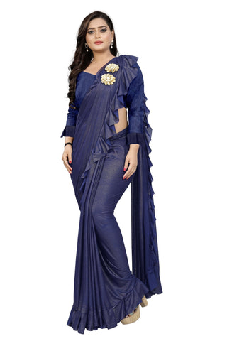 Dark Blue Color Imported Lycra Fabric Saree - Ruffle-Pallu-Buta-DarkBlue