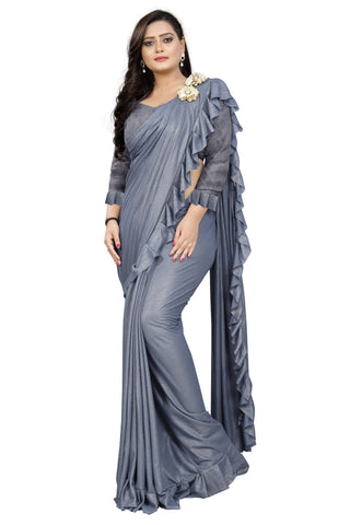 Grey Color Imported Lycra Fabric Saree - Ruffle-Pallu-Buta-Grey