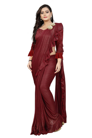 Maroon Color Imported Lycra Fabric Saree - Ruffle-Pallu-Buta-Marron