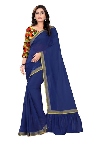 NavyBlue Color Faux Georgette Saree - Ruffle-Pallu-NavyBlue