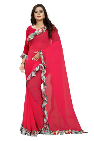 Dark Pink Color Marbel Women's Saree - Ruffle-Print-DarkPink