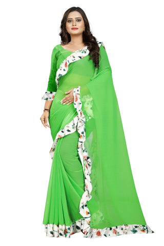 Green Color Marbel Women's Saree - Ruffle-Print-Green