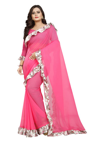 Light Pink Color Marbel Women's Saree - Ruffle-Print-LightPink