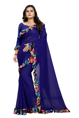 Navy Blue Color Marbel Women's Saree - Ruffle-Print-NavyBlue