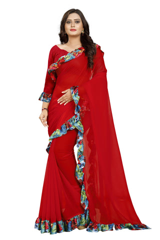 Red Color Marbel Women's Saree - Ruffle-Print-Red
