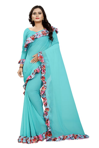 Sea Green Color Marbel Women's Saree - Ruffle-Print-SeaGreen