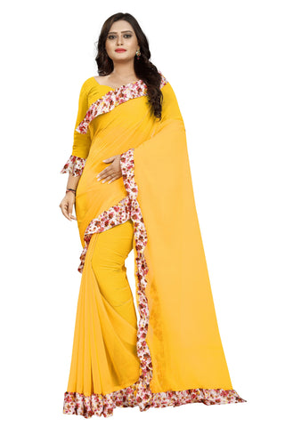 Yellow Color Marbel Women's Saree - Ruffle-Print-Yellow