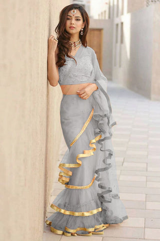 Grey Color Net Saree - Ruffle-net-grey