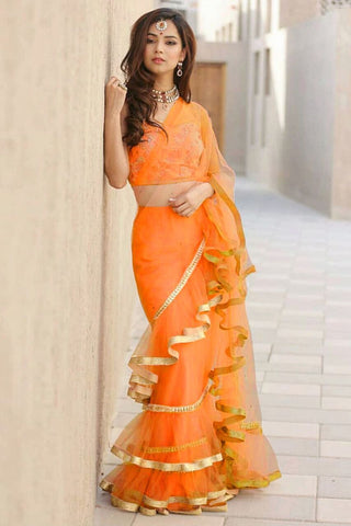 Orange Color Net Saree - Ruffle-net-orange