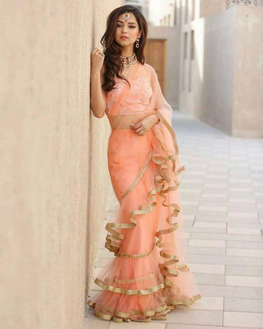 Peach Color Net Saree - Ruffle-net-peach