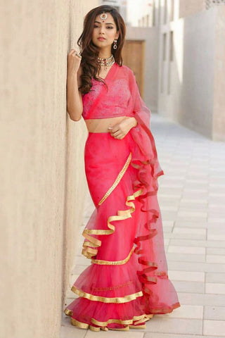 Pink Color Net Saree - Ruffle-net-pink