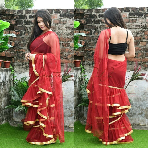 Red Color Net Saree - Ruffle-net-red