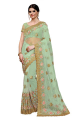 Buy Aqua Blue Color Net Saree
