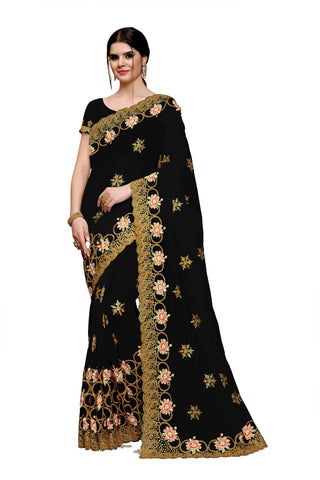 Black Color Net Saree - Rukmani-503