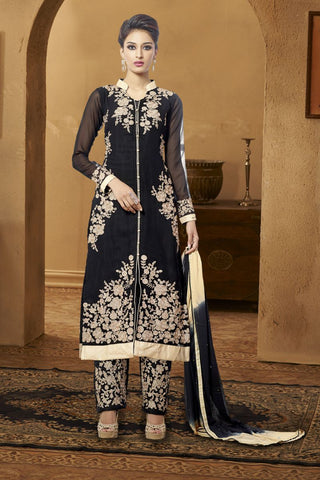 Black Color Georgette Salwars - S-6024