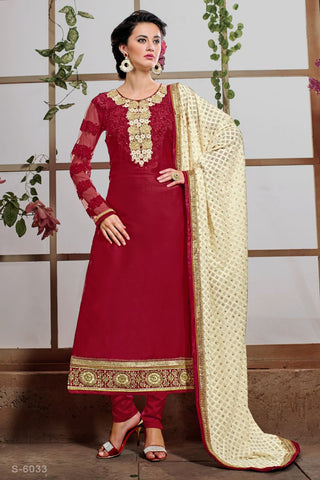 Maroon Color Satin Salwars - S-6033